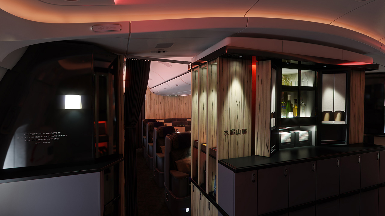 A comfortable area to stand and enjoy your drink or make a quick cup noodle. Photo by China Airlines.