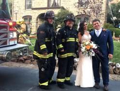 火災威脅婚禮消防員救下新人和蛋糕